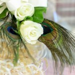 White Roses & Peacock Feathers | Wedding Flowers