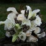 White Lily Roses Feathers | Wedding Flowers
