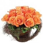 Rustic Trim Pail Orange Event Flowers