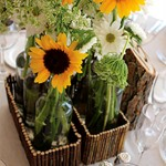 Vintage Bottle Event Flowers