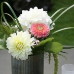 Grebe & Dahlias in Tin Reception | Wedding Flowers
